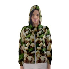 Cheese And Peppers Green Yellow Funny Design Hooded Wind Breaker (women) by yoursparklingshop
