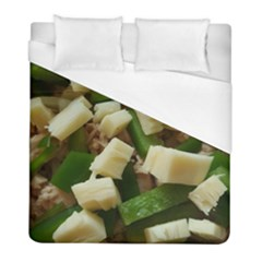 Cheese And Peppers Green Yellow Funny Design Duvet Cover (full/ Double Size) by yoursparklingshop
