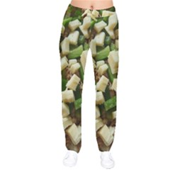 Cheese And Peppers Green Yellow Funny Design Drawstring Pants by yoursparklingshop