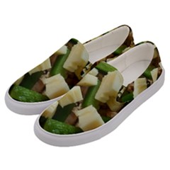 Cheese And Peppers Green Yellow Funny Design Men s Canvas Slip Ons by yoursparklingshop