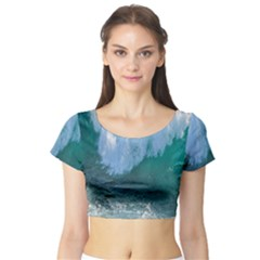 Awesome Wave Ocean Photography Short Sleeve Crop Top