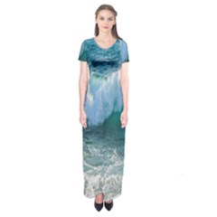 Awesome Wave Ocean Photography Short Sleeve Maxi Dress by yoursparklingshop