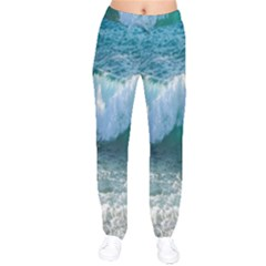 Awesome Wave Ocean Photography Drawstring Pants by yoursparklingshop