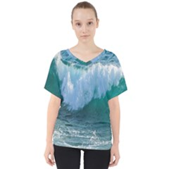 Awesome Wave Ocean Photography V Neck Dolman Drape Top