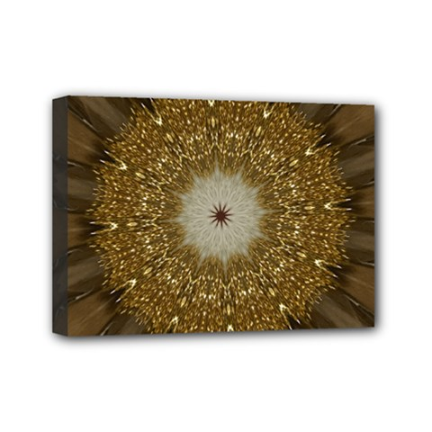 Elegant Festive Golden Brown Kaleidoscope Flower Design Mini Canvas 7  X 5  by yoursparklingshop