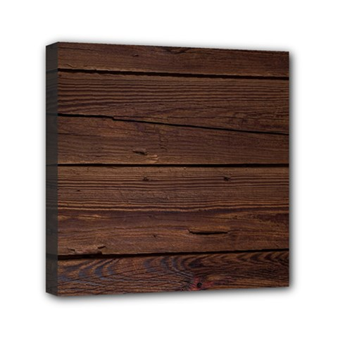 Rustic Dark Brown Wood Wooden Fence Background Elegant Mini Canvas 6  X 6  by yoursparklingshop