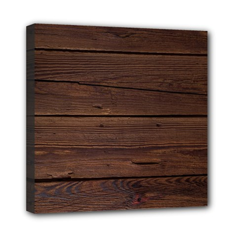 Rustic Dark Brown Wood Wooden Fence Background Elegant Mini Canvas 8  X 8  by yoursparklingshop