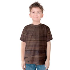 Rustic Dark Brown Wood Wooden Fence Background Elegant Kids  Cotton Tee by yoursparklingshop