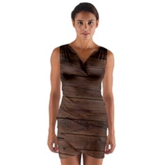 Rustic Dark Brown Wood Wooden Fence Background Elegant Wrap Front Bodycon Dress by yoursparklingshop