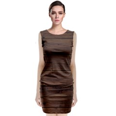 Rustic Dark Brown Wood Wooden Fence Background Elegant Sleeveless Velvet Midi Dress by yoursparklingshop