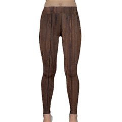 Rustic Dark Brown Wood Wooden Fence Background Elegant Natural Country Style Classic Yoga Leggings by yoursparklingshop