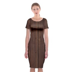 Rustic Dark Brown Wood Wooden Fence Background Elegant Natural Country Style Classic Short Sleeve Midi Dress by yoursparklingshop