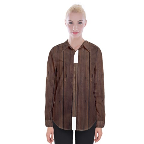 Rustic Dark Brown Wood Wooden Fence Background Elegant Natural Country Style Womens Long Sleeve Shirt by yoursparklingshop