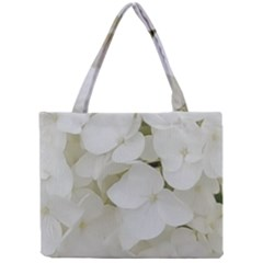 Hydrangea Flowers Blossom White Floral Elegant Bridal Chic Mini Tote Bag by yoursparklingshop