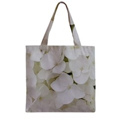 Hydrangea Flowers Blossom White Floral Elegant Bridal Chic Zipper Grocery Tote Bag by yoursparklingshop