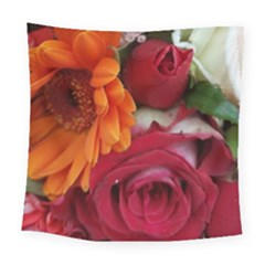 Floral Photography Orange Red Rose Daisy Elegant Flowers Bouquet Square Tapestry (large) by yoursparklingshop