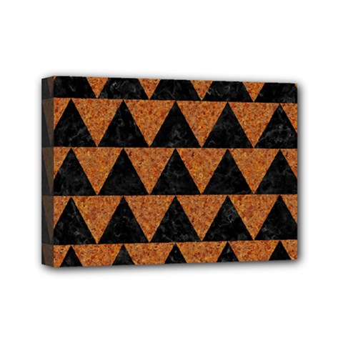 Triangle2 Black Marble & Teal Leather Mini Canvas 7  X 5  by trendistuff