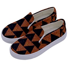 Triangle2 Black Marble & Teal Leather Kids  Canvas Slip Ons by trendistuff