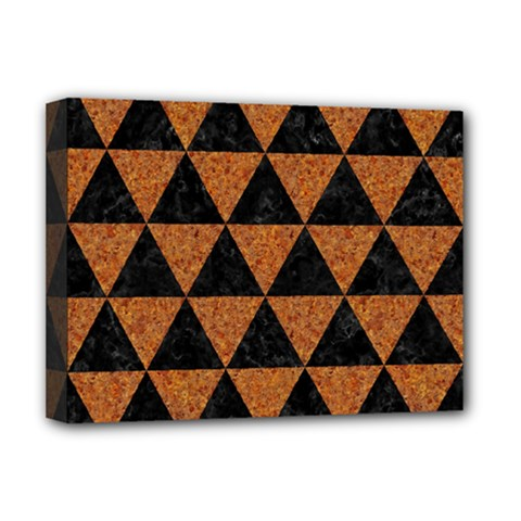 Triangle3 Black Marble & Teal Leather Deluxe Canvas 16  X 12   by trendistuff