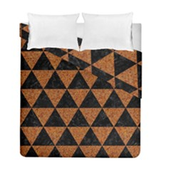 Triangle3 Black Marble & Teal Leather Duvet Cover Double Side (full/ Double Size) by trendistuff