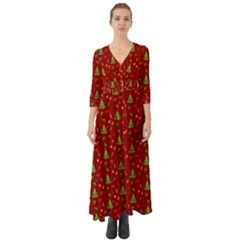 Christmas Pattern Button Up Boho Maxi Dress