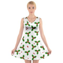 Christmas Pattern V Neck Sleeveless Skater Dress