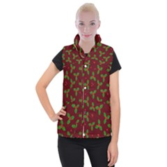 Christmas Pattern Women s Button Up Puffer Vest by Valentinaart
