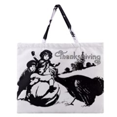 Vintage Thanksgiving Zipper Large Tote Bag by Valentinaart