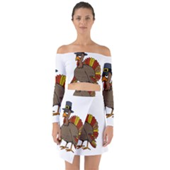 Thanksgiving Turkey  Off Shoulder Top With Skirt Set