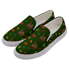 Thanksgiving Turkey  Men s Canvas Slip Ons by Valentinaart