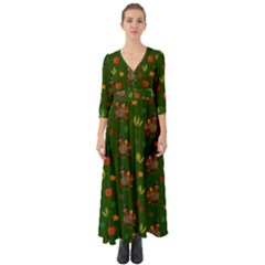 Thanksgiving Turkey  Button Up Boho Maxi Dress
