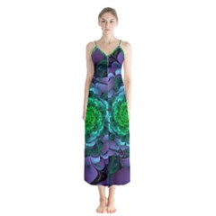 Beautiful Purple & Green Aeonium Arboreum Zwartkop Button Up Chiffon Maxi Dress by jayaprime