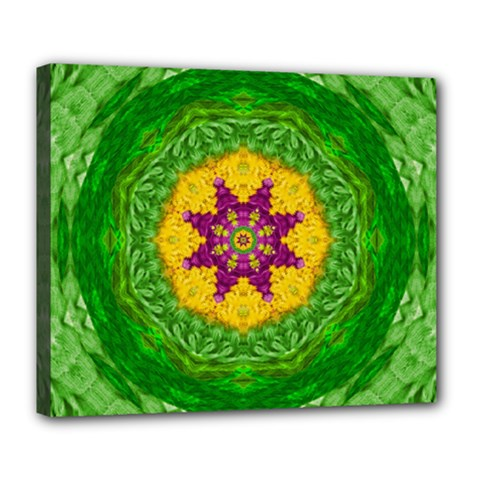 Feathers In The Sunshine Mandala Deluxe Canvas 24  X 20   by pepitasart