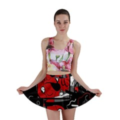 Red Black And White Abstraction Mini Skirt