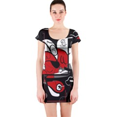 Red Black And White Abstraction Short Sleeve Bodycon Dress