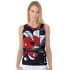 Red Black And White Abstraction Women s Basketball Tank Top