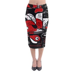Red Black And White Abstraction Midi Pencil Skirt by Valentinaart
