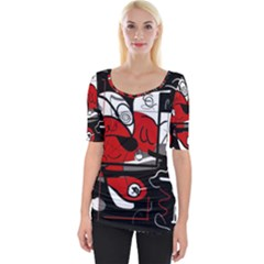 Red Black And White Abstraction Wide Neckline Tee