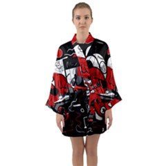 Red Black And White Abstraction Long Sleeve Kimono Robe