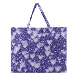 Hearts On Sparkling Glitter Print, Blue Zipper Large Tote Bag by MoreColorsinLife