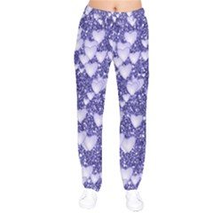 Hearts On Sparkling Glitter Print, Blue Drawstring Pants by MoreColorsinLife
