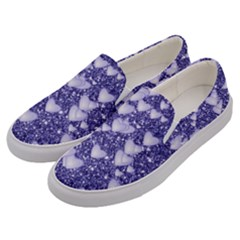 Hearts On Sparkling Glitter Print, Blue Men s Canvas Slip Ons by MoreColorsinLife