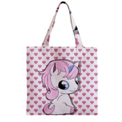 Baby Unicorn Zipper Grocery Tote Bag by Valentinaart