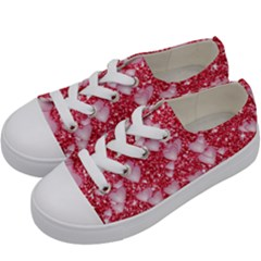 Hearts On Sparkling Glitter Print, Red Kids  Low Top Canvas Sneakers by MoreColorsinLife