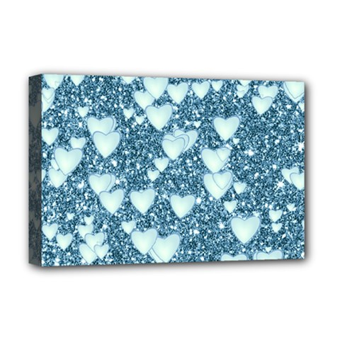 Hearts On Sparkling Glitter Print, Teal Deluxe Canvas 18  X 12   by MoreColorsinLife