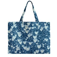 Hearts On Sparkling Glitter Print, Teal Zipper Mini Tote Bag by MoreColorsinLife