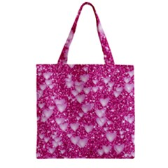 Hearts On Sparkling Glitter Print, Pink Zipper Grocery Tote Bag by MoreColorsinLife