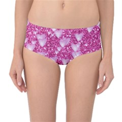 Hearts On Sparkling Glitter Print, Pink Mid-waist Bikini Bottoms by MoreColorsinLife