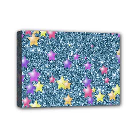 Stars On Sparkling Glitter Print, Blue Mini Canvas 7  X 5  by MoreColorsinLife