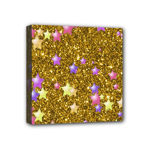Stars On Sparkling Glitter Print,golden Mini Canvas 4  X 4  by MoreColorsinLife